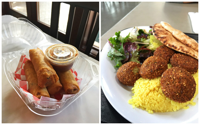 Vietnamese Egg Rolls and Falafel Plate from San Pedro Square Market